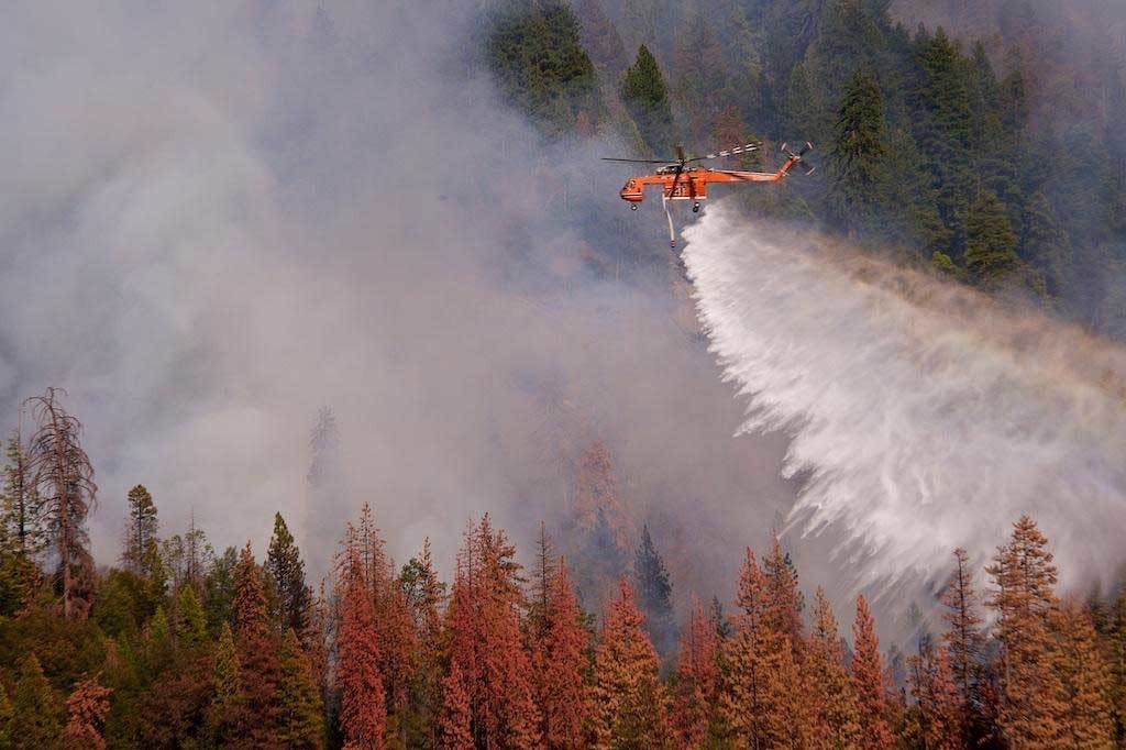 Type 1 Helicopter Conducting a Drop Supporting Ground Operations, 2015 Willow Fire, Credit: Dennis Rein